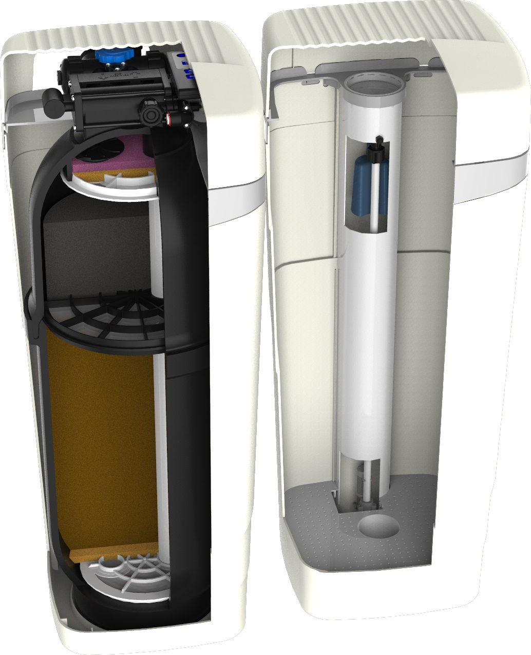 In a single unit with a small footprint, we can soften your water; reduce chlorine and monochloramine; reduce heavy metals like lead; and filter sediment with a self-cleaning, integrated sediment filtration media. The unit takes the same amount of space as half of a clothes washer! Depending on water quality and consumption this unit can clean itself in as few as 24 minutes, using just 20 gallons of water and 1.1 pounds of salt. Highly efficient, highly effective, American-Made.