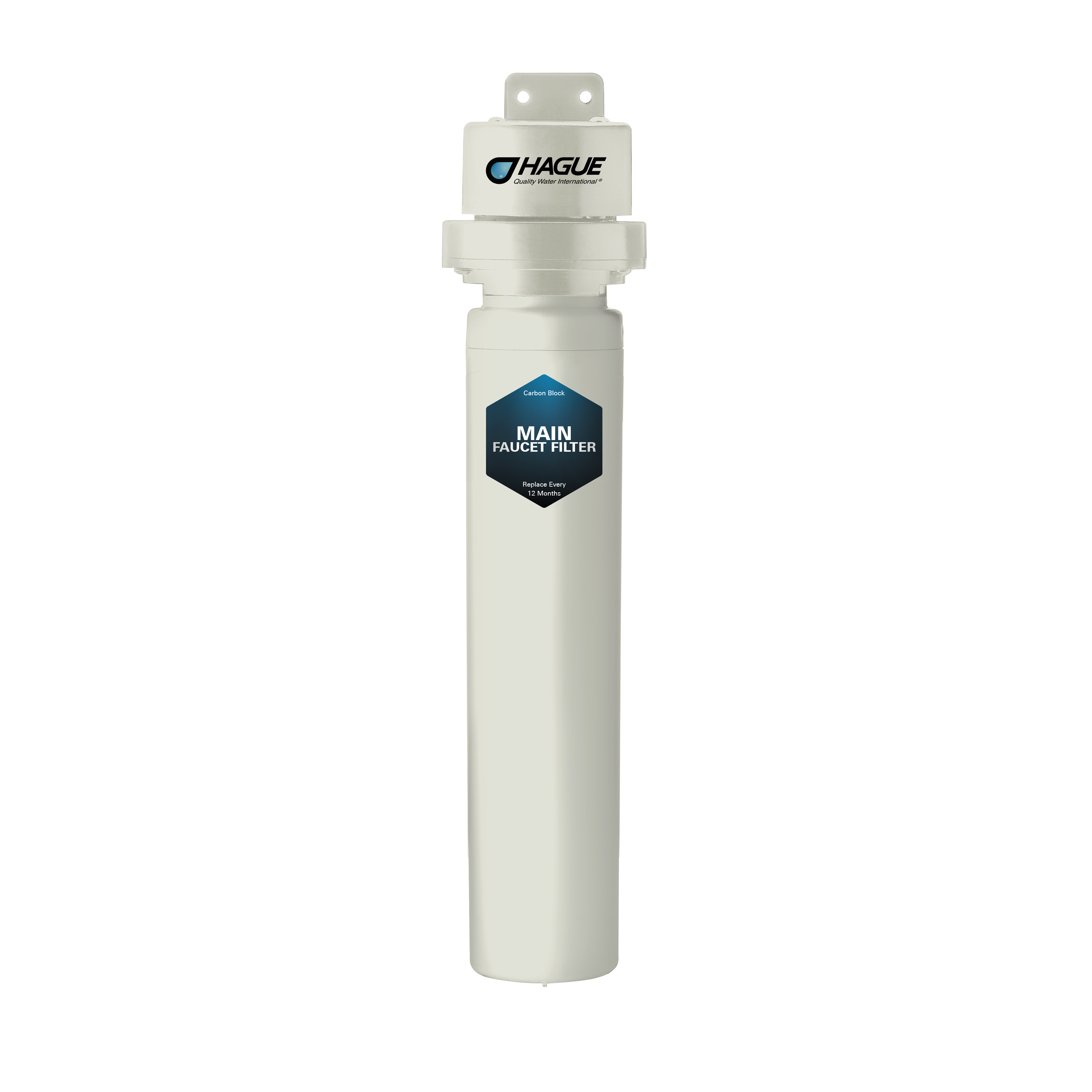 The Hague Main filter is a compact, undersink filter that will deliver clean, safe water directly to your primary cold water faucet. The carbon block filter will treat up to 7900 gallons of water and is effective for the reduction of chlorine, lead and cryptosporidium, among others. It is simple to install and maintain and is a quick and easy solution, particularly for lead reduction without having to use pitchers or more complicated, expensive filtration.