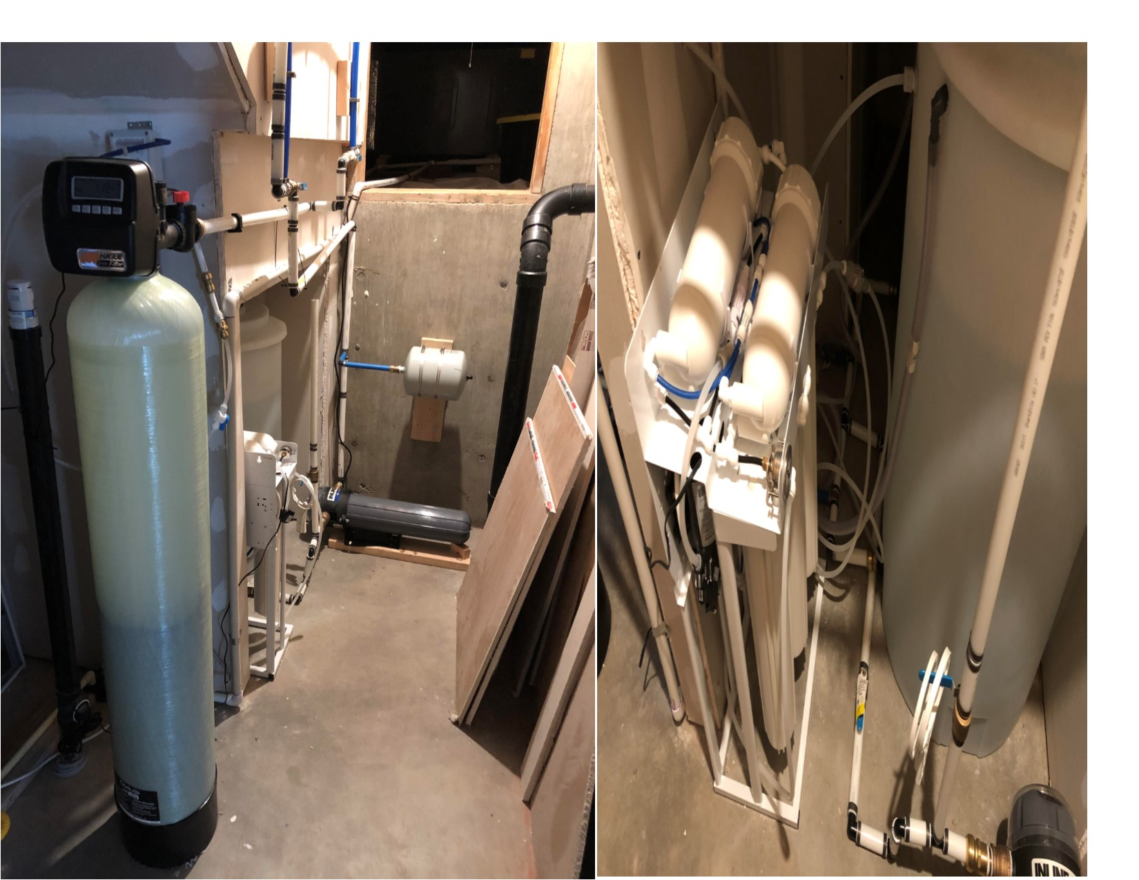 600 gallon/day reverse osmosis system in a home south of Platteville, CO. This was an extreme situation with salt, fluoride and sulfur. This family can now use and rely on their water. 2-2020 3
