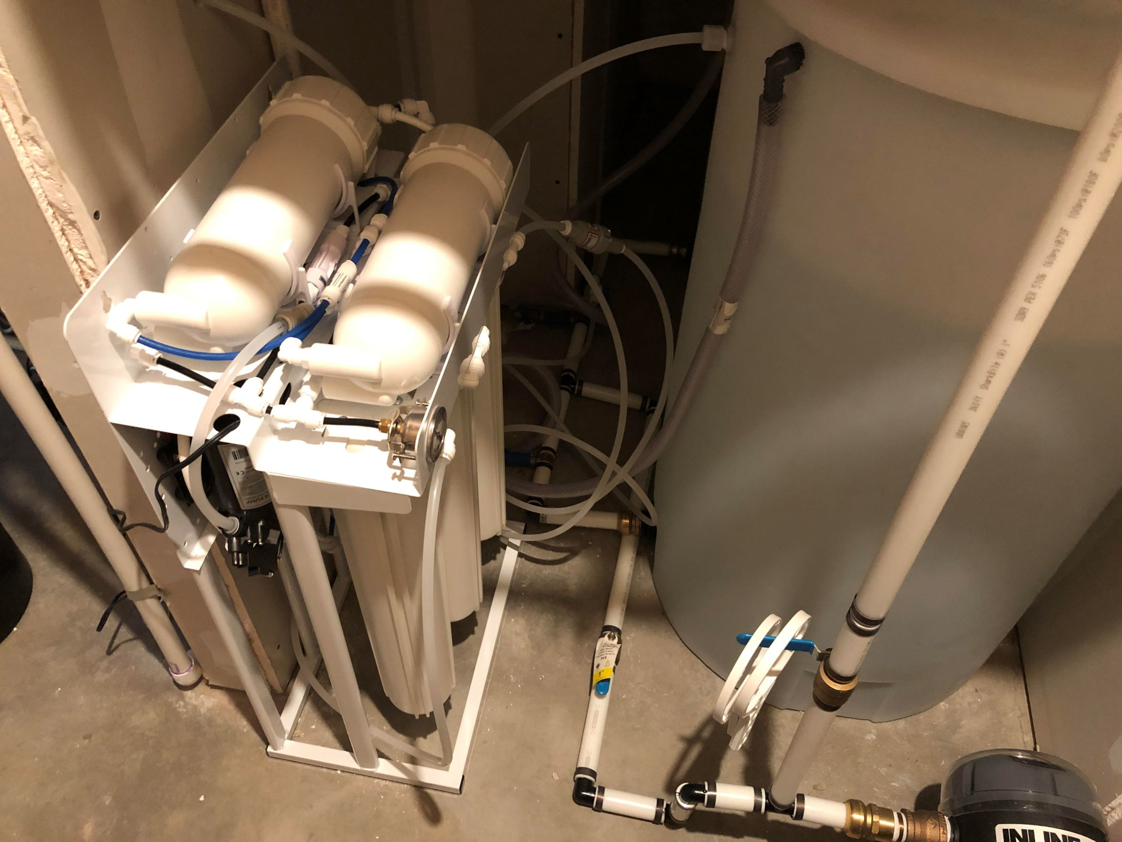 600 gallon/day reverse osmosis system in a home south of Platteville, CO. This was an extreme situation with salt, fluoride and sulfur. This family can now use and rely on their water. 2-2020 2